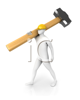 Royalty Free Clipart Image of a Man With a Hammer