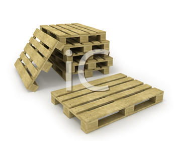 Royalty Free Clipart Image of a Stack of Wooden Pallets