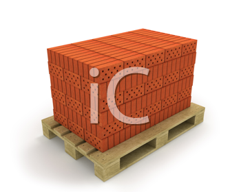 Royalty Free Clipart Image of Bricks on a Pallet