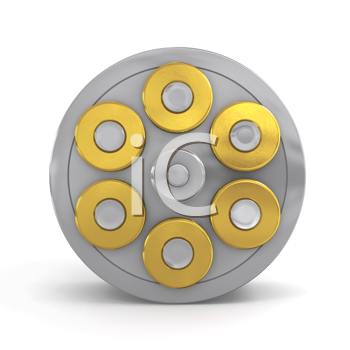 Royalty Free Clipart Image of a Revolver Cylinder