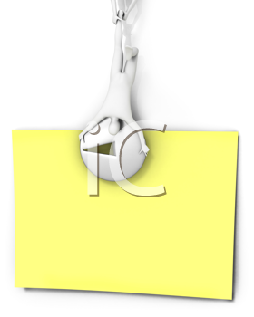 Royalty Free Clipart Image of a Pin Holding a Note