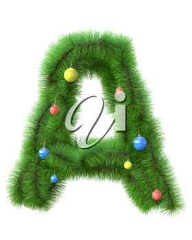 A letter made of christmas tree branches isolated on white background