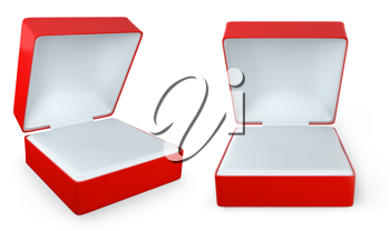 Red rectangular ring box isolated on white background,  two views