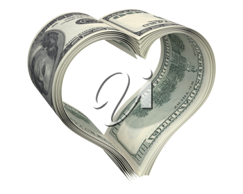Heart made of few dollar papers, isolated on white background