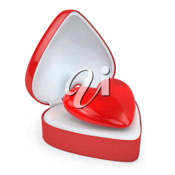 Heart in a heart shaped gift box, isolated on white background