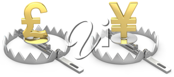 Pound and yen symbols in a bear trap, isolated on white background