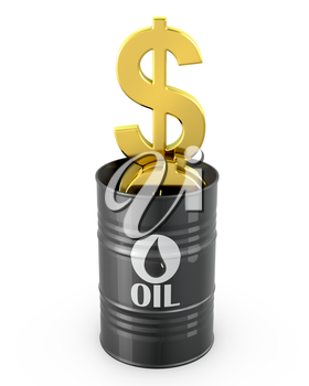 Barrel of oil full of dollar signs isolated on white background