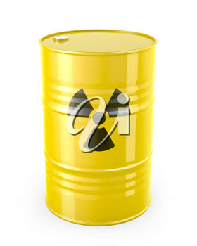 Barrel with radioactive symbol, isolated on white background