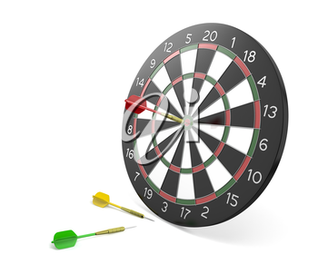 One dart hit the center of board and two missed, isolated on white background