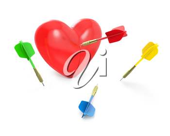 One dart hit the red heart, isolated on white background