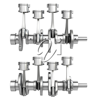 Engine pistons on a crankshaft, two positions, isolated on white background