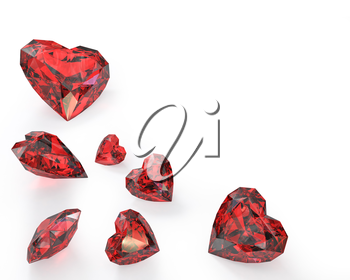 Few heart cut rubies, isolated on white background