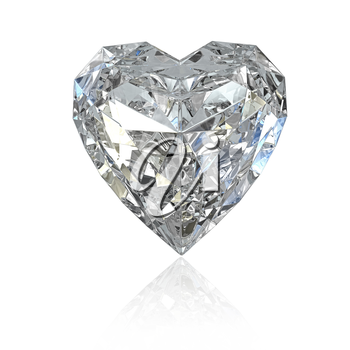 Heart shaped diamond, isolated on white background