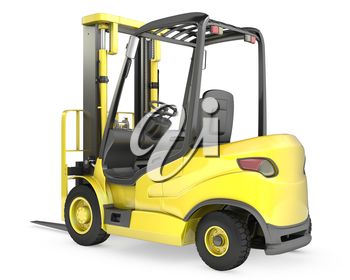 Yellow fork lift truck, rear view, isolated on white background