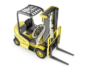 Yellow fork lift truck, top view, isolated on white background