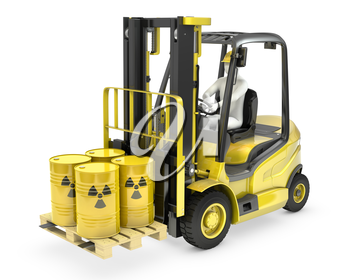 Fork lift truck with radioactive barrels, isolated on white background