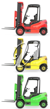Three fork lift trucks colored as traffic lights, isolated on white background