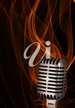 Shiny classic microphone on abstract flame background