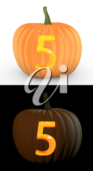 Number 5 carved on pumpkin jack lantern isolated on and white background