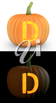 D letter carved on pumpkin jack lantern isolated on and white background
