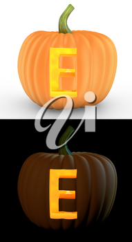 E letter carved on pumpkin jack lantern isolated on and white background