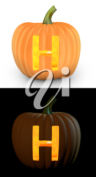 H letter carved on pumpkin jack lantern isolated on and white background