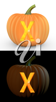 X letter carved on pumpkin jack lantern isolated on and white background
