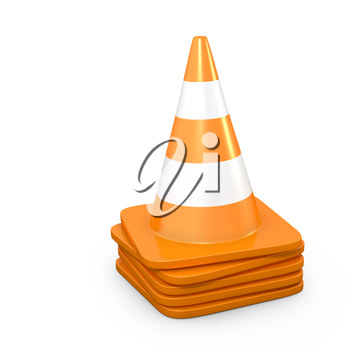 Stack of road cones, isolated on white background