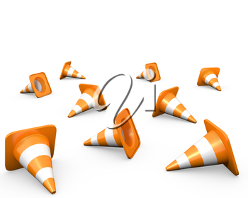 Large group of traffic cones, isolated on white