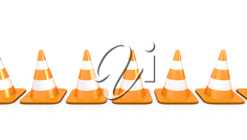 Line of traffic cones, isolated on white background