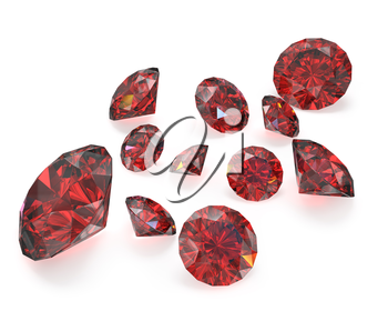 Few round cut rubies, isolated on white background
