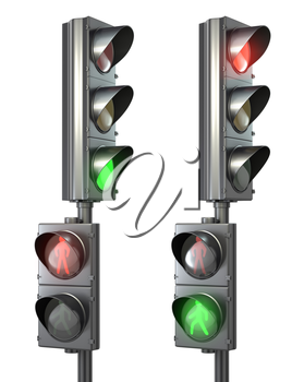 Set of pedestrian light lights with walk and go lights, isolated on white background