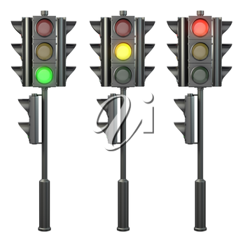 Set of four sided traffic lights on a stand, isolated on white background
