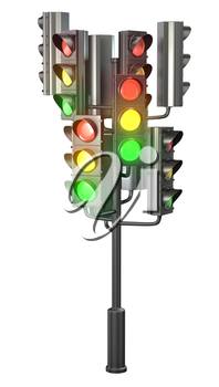 Large group of traffic lights on single stand, isolated on white