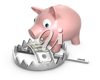Piggy bank in a bear trap, isolated on white background