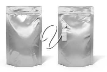 Foil bag package isolated on white background