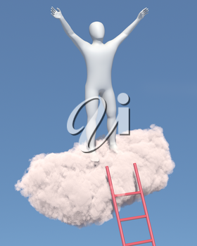 Abstract white man relaxes on a cloud in the sky