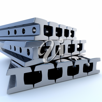 Metal rails on a white background. 3d illustration