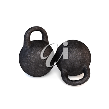 Two retro sports dumbbells on a white background. 3D illustration.