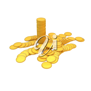 Gold coins on a white background. 3d illustration, render.