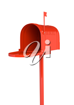 Open red mailbox on white background. 3D illustration, render