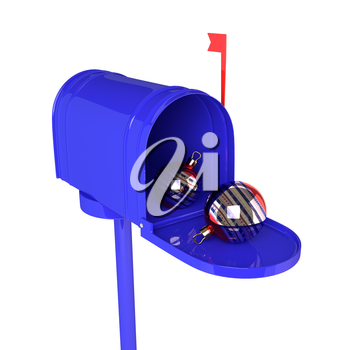Blue open mailbox with Christmas balls on white background. 3D illustration.