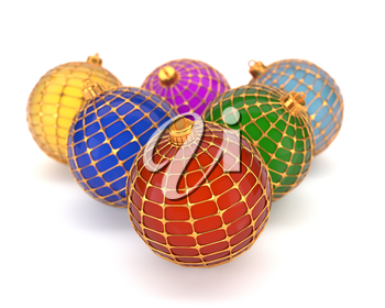 Set of multi-colored Christmas toys, isolated on white background. Christmas decorations. 3d illustration.