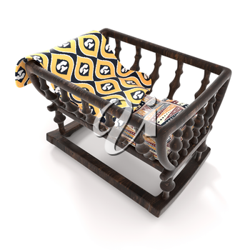 Children old wooden cradle on white background. Bright baby blanket, a mattress and a pillow with a traditional African pattern. 3D-rendering.