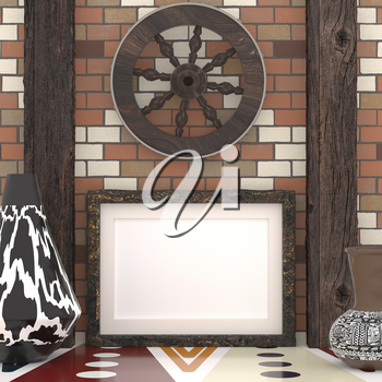 Mocap ethnic interior. Wooden wheel on a brick wall with wooden beams, a traditional African tribal style. Painted vases with ethnic ornament and empty frame on the wall. 3d rendering.