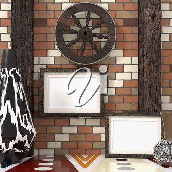 Mocap ethnic interior. Wooden wheel on a brick wall with wooden beams, a traditional African tribal style. Painted vases with ethnic ornament and two empty frame on the wall. 3d rendering.