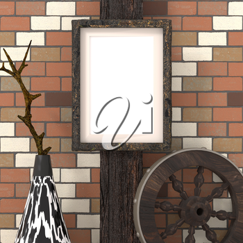 Mocap ethnic interior. Empty picture on a wooden beam, a traditional African tribal style. Painted vase with ethnic ornaments and wooden wheel on a background of brick wall. 3d rendering.