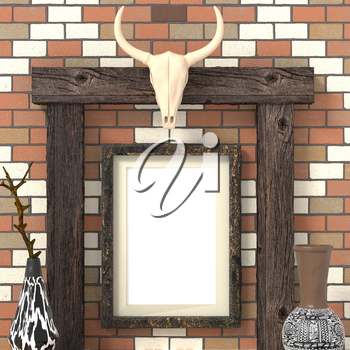 Mocap ethnic interior. Blank picture on a brick wall. Painted vases with ethnic ornaments and skull of a bull on wooden beams. Traditional African tribal style. 3d rendering.