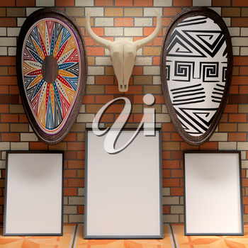 Mocap African interior gallery. Blank picture on a brick wall. Skull bull and shields painted with traditional African patterns on the brick wall. 3d rendering.