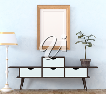 Mock up retro interior. Light wooden cabinet with dark legs and a flower in a pot ficus, light floor lamp on a light laminate. 3d rendering